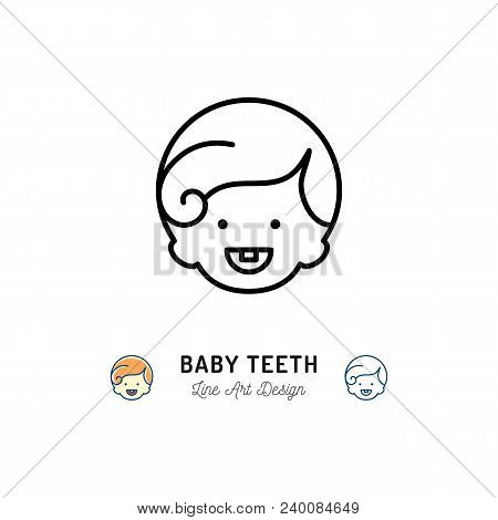 Baby Teeth Icon, Little Boys With First Tooth, Child Smiling. Children's Dental Care Thin Line Icon.