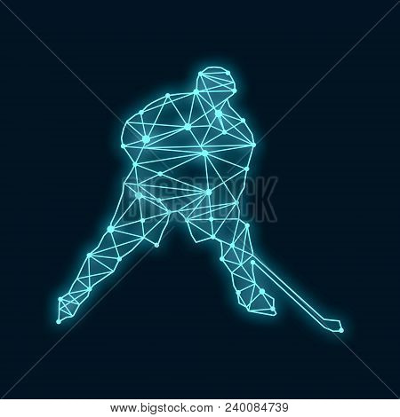 Professional Hockey Player. Cutout Silhouette Textured By Lines And Dots Pattern. 3d Rendering