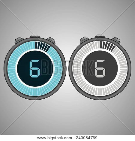 Electronic Digital Stopwatch. Timer 6 Seconds Isolated On Gray Background. Stopwatch Icon Set. Timer