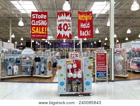 Dublin, Ca - April 21, 2018: Babies R Us Store Final Sales Days. Bankrupt Retailer Toys R Us Closing