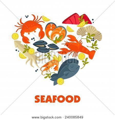 Seafood Heart Poster Of Fresh Fish Catch For Sea Food Symbols For Restaurant Or Fisher Market. Vecto