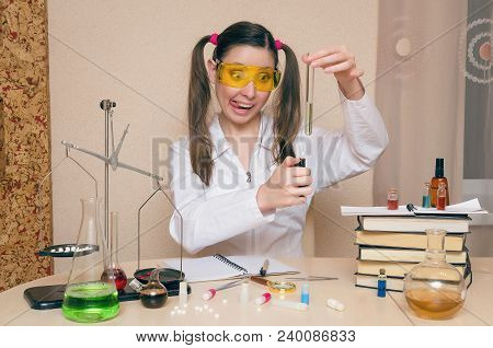 Emotional Student Girl On Chemistry Lesson. Pharmacist Or Crazy Apothecary Woman. Scientific Experim
