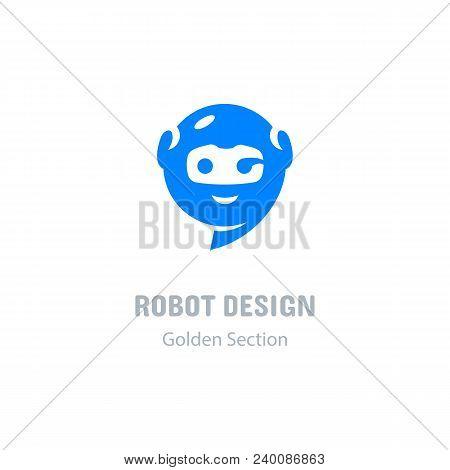 Robot Logo, Communication Messenger Icon. Computer Technologies And Robotics Logotype. Modern Chat A