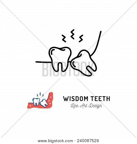 Wisdom Teeth Icon. Wisdom Tooth Or Third Molar, Toothache, Jaw Pain. Thin Line Art Design, Vector Fl