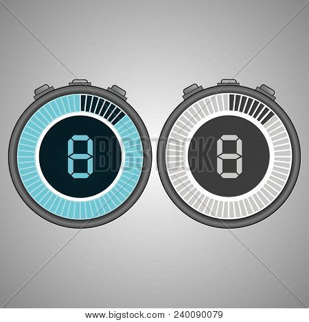 Electronic Digital Stopwatch. Timer 8 Seconds Isolated On Gray Background. Stopwatch Icon Set. Timer