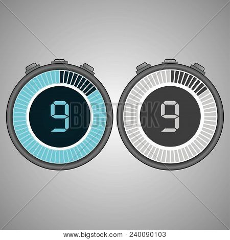 Electronic Digital Stopwatch. Timer 9 Seconds Isolated On Gray Background. Stopwatch Icon Set. Timer