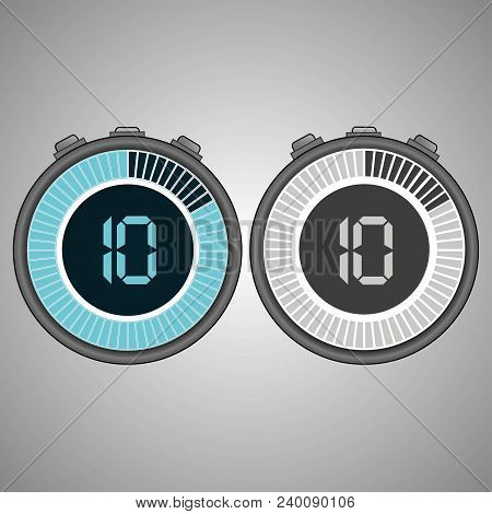 Electronic Digital Stopwatch. Timer 10 Seconds Isolated On Gray Background. Stopwatch Icon Set. Time