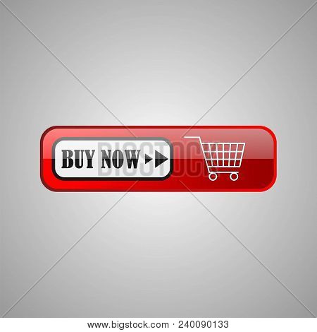 Buy Now Icon Symbol. Shopping Cart Icon. Buy Now Red Button Isolated On Gray Background. Vector Eps