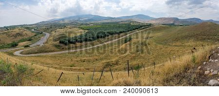 Panoramic Landscape Of Countryside And The Galilee Mountains In The Hula Valley, View From Tel Hazor
