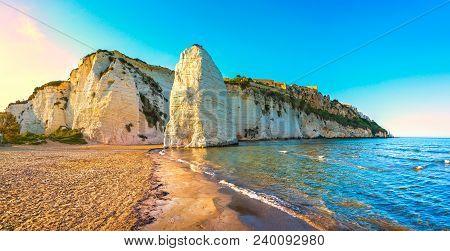 Vieste And Pizzomunno Rock Beach Shoreline, Gargano Peninsula, Apulia, Southern Italy, Europe.