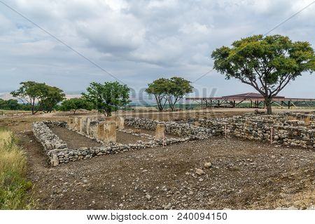 View of Israelite buildings remains, in Tel Hazor National Park, a UNESCO World Heritage Site in Northern Israel poster