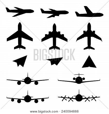 Set Of Plane Icons. Jet Airplanes, Paper Wings. Personal And Charter Jetliner. Cargo And Passenger A