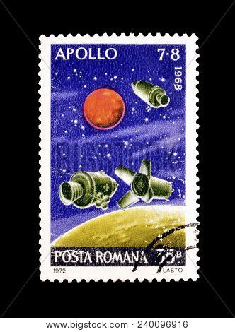 Romania - Circa 1987 : Cancelled Postage Stamp Printed By Romania, That Shows Space Capsules.