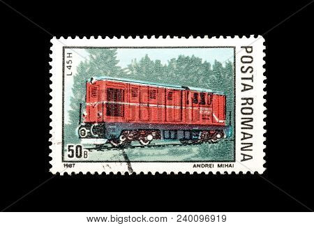 Romania - Circa 1987 : Cancelled Postage Stamp Printed By Romania, That Shows Diesel Locomotive L45h