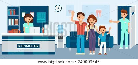 Recovered Family After Dental Treatment In Waiting Room At Dentist. Concept Of Healthy Teeth. Tooth