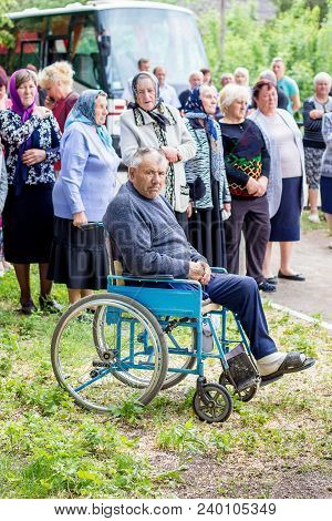 Ukraine. Khmelnitsky Region. May 2018. Rally In  Village In Honor Of  Dead Soldiers. Man On  Wheelch