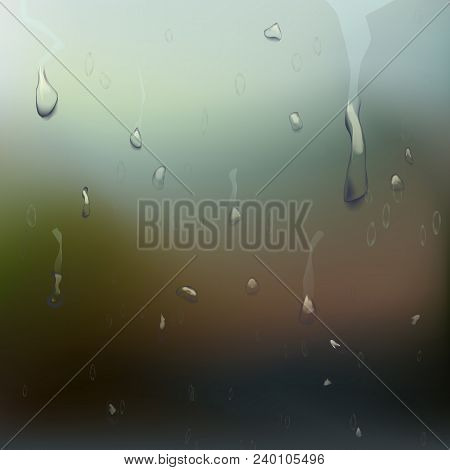 Wet Glass Vector. Drops On Window Glass. Wet Glass Surface. Realistic Illustration