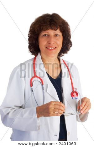 Female Doctor Isolated On White Background