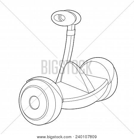 Vector Icon For Web. Two Wheeled Electric Vehicle Icon. Outline Illustration Of Two Wheeled Electric