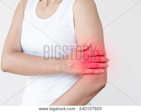 Arms Pain. Beautiful Woman Suffering From Painful Feeling In Arm Muscles. Healthcare And Medical Con