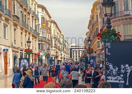 Malaga, Spain - April 21, 2018. People On The Red Carpet At The Marques De Larios Street From Anual