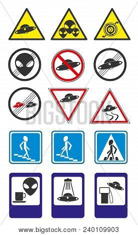 A Set Of Ufo Road Signs. Modern Flat Vector Collection Icons. Part 2