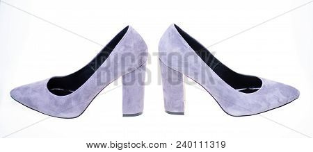 Shoes Made Out Of Grey Suede On White Background, Isolated. Footwear For Women With Thick High Heels
