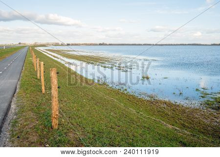 Narrow Asphalt Road On An Embankment Along A Flooded Dutch Polder. Along The Way Is A New Fence Of W