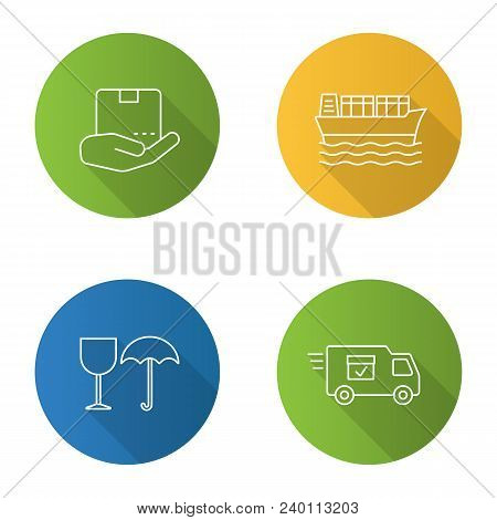 Cargo Shipping Flat Linear Long Shadow Icons Set. Delivery Service. Open Hand With Parcel, Cargo Ves