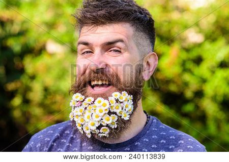 Barber And Hairstyle Concept. Man With Beard And Mustache On Cheerful Smiling Face, Green Background