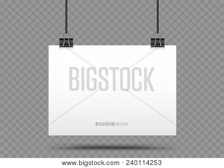 Piece Of Paper Hanging In Holders With Shadow On Transparent Background. Empty White Horizontal Post