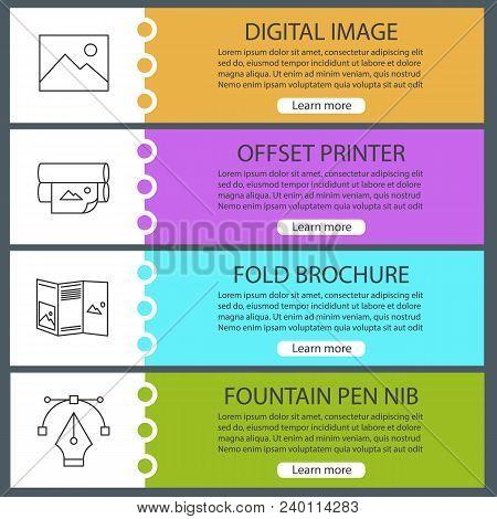 Printing Web Banner Templates Set. Polygraphy. Digital Image, Offset Printer, Folded Brochure, Fount