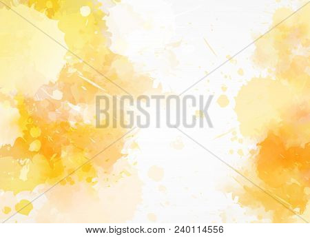 Abstract Background With Watercolor Pain Splashes. Modern Design. Template Painted Background. Yello