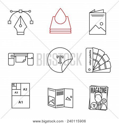 Printing Linear Icons Set. Fountain Pen, Ink, Brochure, Large Format Printer, Round Sticker, Palette