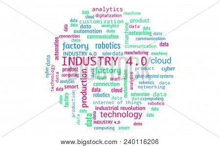 Industry 4.0 Concept As Word Collage Or Word Cloud, Round Shape, Words In Green, Red, Blue