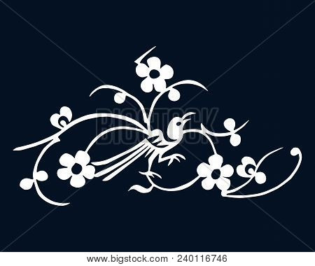 Plum Blossom And Magpie. Folk Chinese Design Symbols. Vector Illustration. Can Be Used In Present Ca