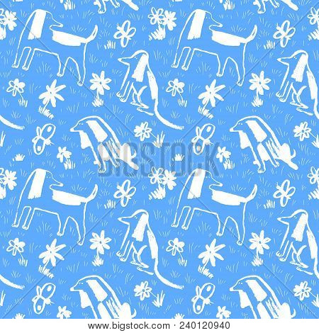 Seamless Pattern With Cute Dogs. Background With Pets And Butterfly. Vector Illustration With Flower