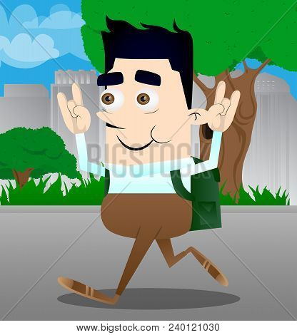 Schoolboy With Hands In Rocker Pose. Vector Cartoon Character Illustration.