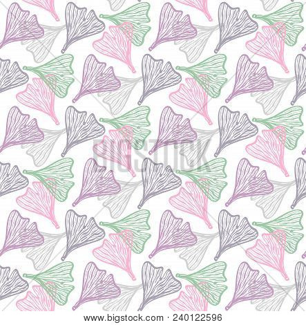 Sketchy Line Leaf Colorful Elegant Seamless Floral Vector Pattern