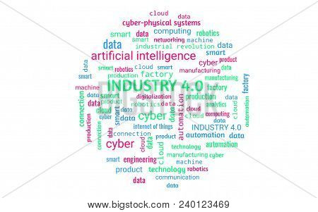 Industry 4.0 Concept As Word Collage Or Word Cloud, Round Shape, Words In Green, Blue, Red