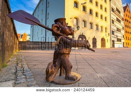 Gdansk, Poland - May 5, 2018: Lion figure at the old town of Gdansk, Poland.  Lion is symbol od Gdansk city.