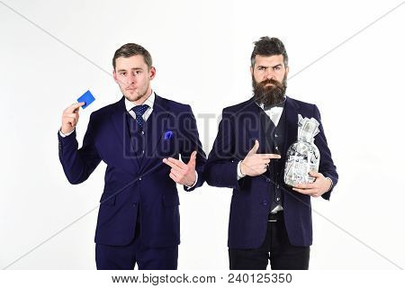 Trustworthiness Concept. Men, Businessmen With Jar Full Of Cash And Credit Card, White Background. O