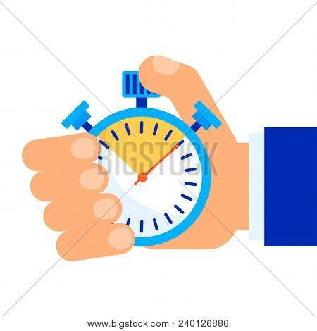 Color Stopwatch In Hand. Control And Time Management, The Result Of The Athlete In The Competition.