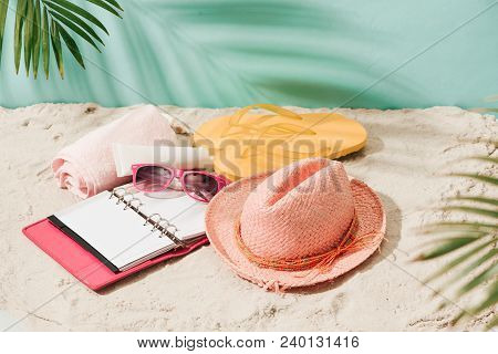 Holiday (vacation) Tropical Beach Background Layout With Blank Open Book And Free Text Space. Palm T