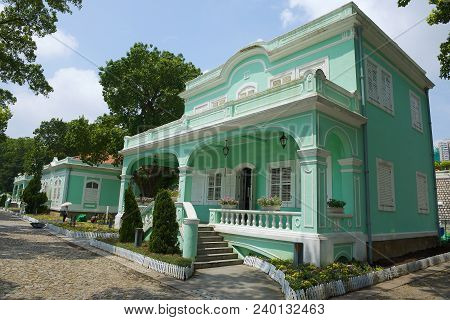 Macau, China - September 12, 2013: Exterior Of The Traditional Portuguese House In Taipa Village, Ma