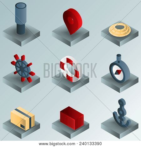 Seaport Color Gradient Isometric Icons. Vector Illustration, Eps 10