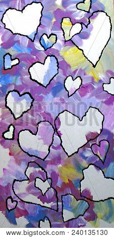 Acrylic Painting Of Torn Paper Hearts On Magenta Blue Yellow Background