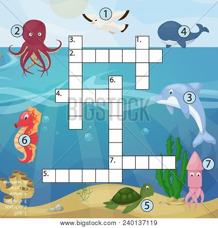 Crossword Kids Magazine Book Puzzle Game Of Sea Underwater Ocean Fish And Animals Logical Crossword