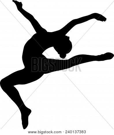 Stag Split Leap Gymnast Woman In Black Silhouette