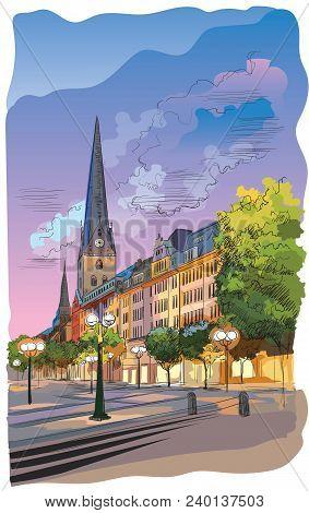 Colorful View Of The Church Hauptkirche Sankt Petri In Hamburg